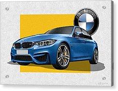 2016  B M W  M 3  Sedan With 3 D Badge  Acrylic Print