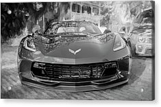 Acrylic Print featuring the photograph 2017 Chevrolet Corvette Gran Sport Bw by Rich Franco