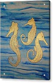 24 Karat Seahorses Acrylic Print