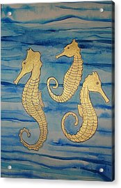 24 Karat Seahorses Acrylic Print by Erika Swartzkopf