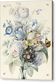 A Bunch Of Flowers Acrylic Print by Pierre Joseph Redoute