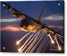 A C-130 Hercules Releases Flares Acrylic Print by HIGH-G Productions