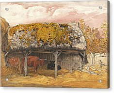 A Cow Lodge With A Mossy Roof Acrylic Print by Samuel Palmer