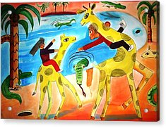 A Fine Day For Riding Giraffes Acrylic Print by Ward Smith