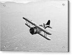 A Grumman F3f Biplane In Flight Acrylic Print by Scott Germain