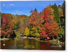Acrylic Print featuring the painting A Little Piece Of Adirondack Heaven by Diane E Berry