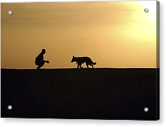 A Military Working Dog And His Handler Acrylic Print by Stocktrek Images