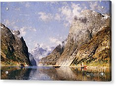 A Norwegian Fjord  Acrylic Print by Adelsteen Normann