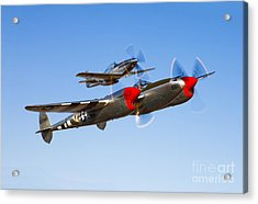 A P-38 Lightning And P-51d Mustang Acrylic Print by Scott Germain
