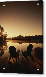 A Pair Of Adirondack Chairs On A Dock Acrylic Print by Michael Melford