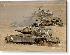 A Pair Of Israel Defense Force Merkava Acrylic Print by Ofer Zidon