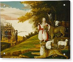A Peaceable Kingdom With Quakers Bearing Banners Acrylic Print by Edward Hicks
