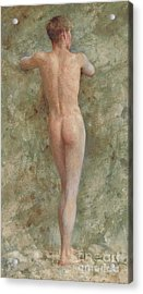 A Standing Male Nude Acrylic Print by Henry Scott Tuke