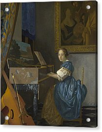 A Young Woman Seated At A Virginal Acrylic Print by Johannes Vermeer
