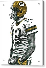 Aaron Rodgers Green Bay Packers Pixel Art 5 Acrylic Print by Joe Hamilton