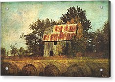 Abandoned Countryside Barn And Hay Rolls Acrylic Print