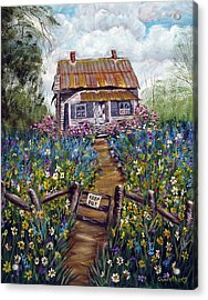 Acrylic Print featuring the painting Abandoned House by Quwatha Valentine