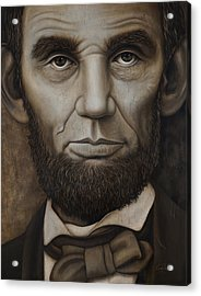 Abraham Lincoln On Wood Acrylic Print by Cindy Anderson
