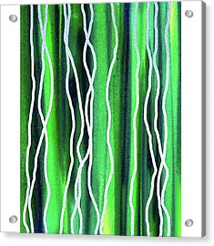 Abstract Lines On Green Acrylic Print by Irina Sztukowski