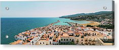 Aerial Panoramic View From Papa Luna Castle Of Peniscola City In Spain Acrylic Print