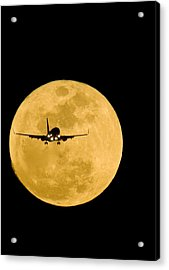 Aeroplane Silhouetted Against A Full Moon Acrylic Print by David Nunuk