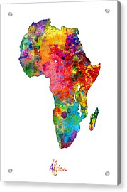 Africa Watercolor Map Acrylic Print