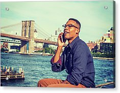 African American Man Traveling In New York Acrylic Print