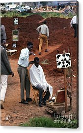 African Barbershop Acrylic Print by Erik Falkensteen