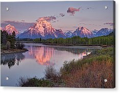 Alpenglow At Oxbow Bend Acrylic Print