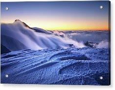 Amazing Foggy Sunset At Mountain Peak In Mala Fatra, Slovakia Acrylic Print