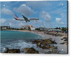 American Airlines Landing At St. Maarten Acrylic Print by David Gleeson