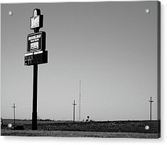 Acrylic Print featuring the photograph American Interstate - Kansas I-70 Bw 4 by Frank Romeo