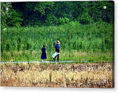Amish Brother And Sister Acrylic Print by Randy Matthews