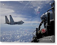 An F-15 Eagle Pilot Flies In Formation Acrylic Print by HIGH-G Productions