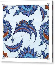 An Iznik Polychrome Pottery Tile Acrylic Print
