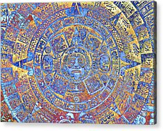 Ancient Mayan Calendar, Abstract Color Background. Acrylic Print by Jozef Klopacka