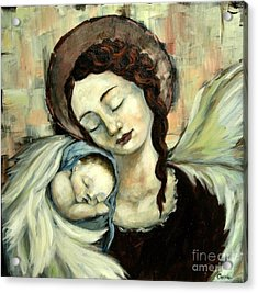 Angel And Baby Acrylic Print by Carrie Joy Byrnes