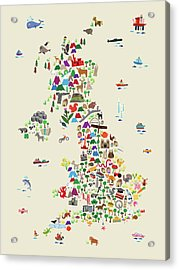 Animal Map Of Great Britain For Children And Kids Acrylic Print