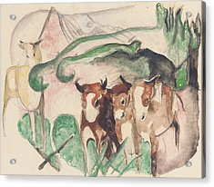 Animals In A Landscape Acrylic Print by Franz Marc
