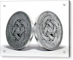 Antique Coins Heads And Tails Acrylic Print by Allan Swart