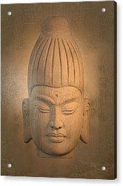 antique oil effect Buddha Burmese. Acrylic Print by Terrell Kaucher