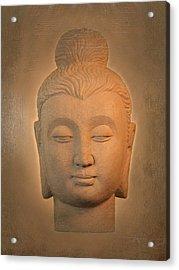 antique oil effect Buddha Gandhara. Acrylic Print by Terrell Kaucher