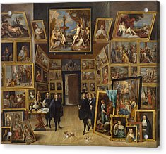 Archduke Leopold Wilhelm At His Picture Gallery In Brussels Acrylic Print by David Teniers the Younger