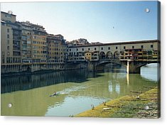 Arno River In Florence Italy Acrylic Print by Marna Edwards Flavell