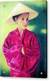 Acrylic Print featuring the pastel Asia As Asian by Jan Amiss
