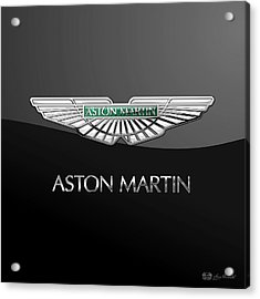 Aston Martin 3 D Badge On Black  Acrylic Print