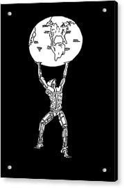 Acrylic Print featuring the drawing Atlas by Steve  Hester