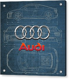 Audi 3 D Badge Over 2016 Audi R 8 Blueprint Acrylic Print by Serge Averbukh