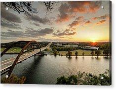 Austin Pennybacker 360 Bridge Sunset Acrylic Print by Preston Broadfoot
