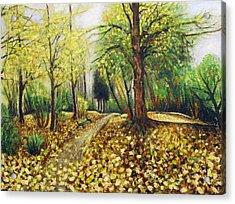 Autumn Alley Acrylic Print by Vladimir Kezerashvili